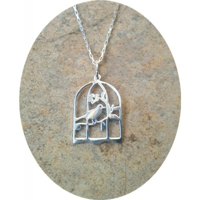 Bird in cage necklace in Sterling Silver