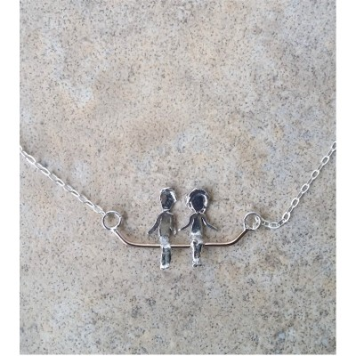 Family on a bar - kids on a swing necklace