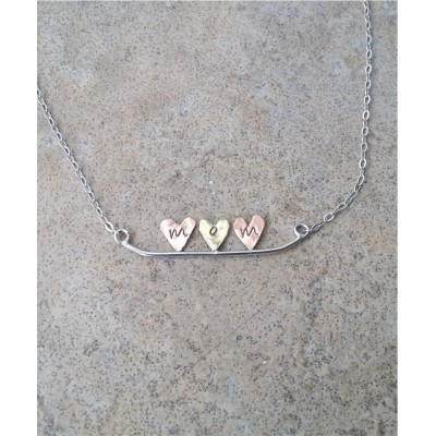 MOM Heart Necklace / 3 Hearts / Hand stamped / Personalized / Copper and brass and copper on Sterling Silver with Sterling Silver Chain