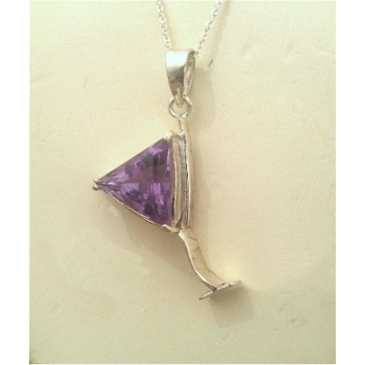 Amethyst Martini Glass in Sterling Silver