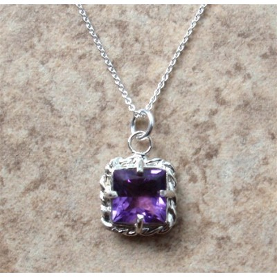 Sterling Silver Amethyst Square Necklace