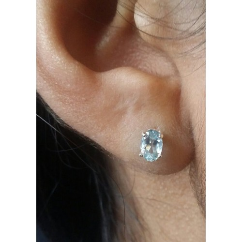 Aquamarine Earrings Genuine 6 X 4 Oval Studs In Sterling Silver Or Gold