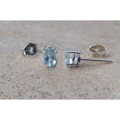 Aquamarine earrings - Genuine Aquamarine 6 x 4 oval studs in Sterling Silver or Gold