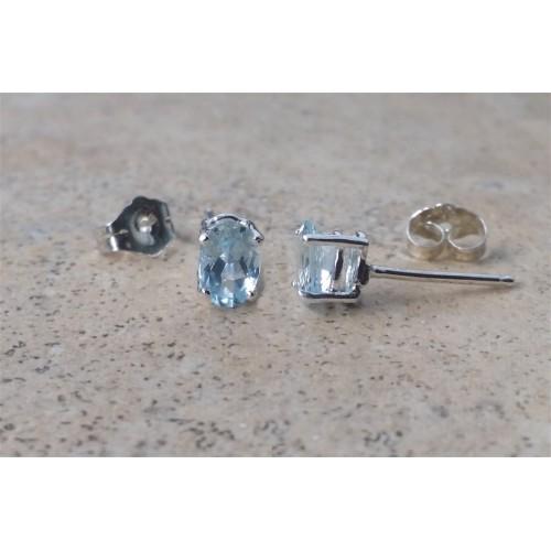 d5c424143 Aquamarine earrings - Genuine Aquamarine 6 x 4 oval studs in Sterling Silver  or Gold