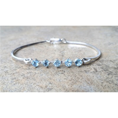 Aquamarine Bracelet - Aquamarine 4mm stones cuff bracelet in Sterling Silver or Gold