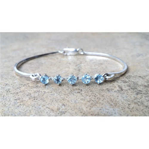 Aquamarine Bracelet 4mm Stones Cuff In Sterling Silver Or Gold