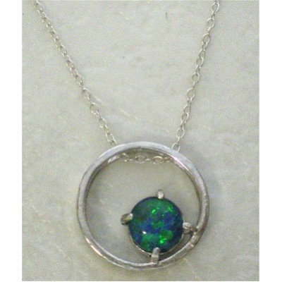 Australian Black Opal Circle Necklace