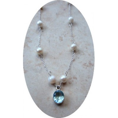 Blue Topaz and White Freshwater Pearl Necklace