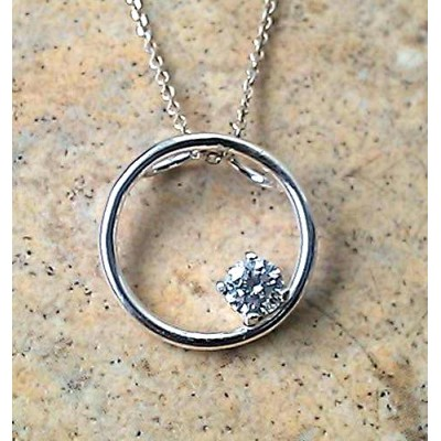 Genuine Diamond (April Birthstone) circle necklace in Silver or Gold