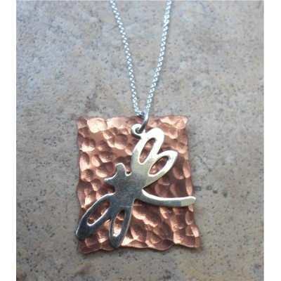 Copper and Silver Dragonfly Necklace