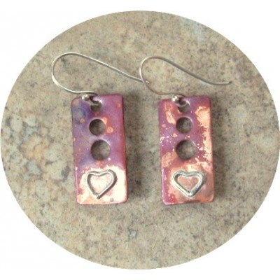 copper with natural patina and Silver Hearts