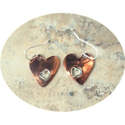 Copper and Silver double Heart Earrings