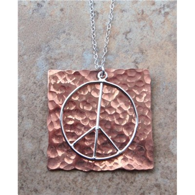 Hammered Copper with silver Peace Sign