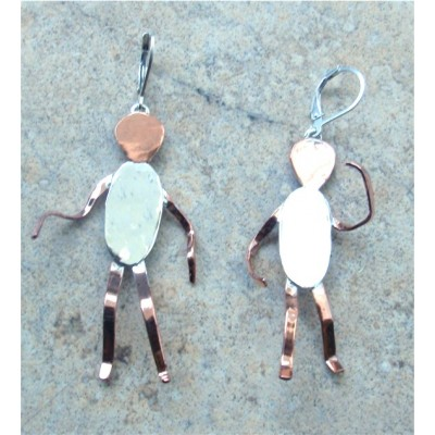 Copper and Silver 'Dancers' earrings