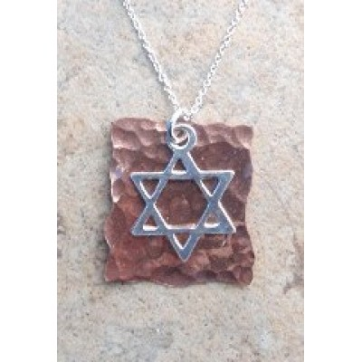 Copper and Silver Star of David Necklace