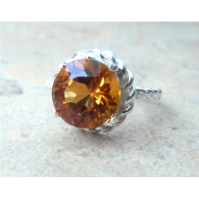 Sterling Silver Rope Ring with dark Citrine