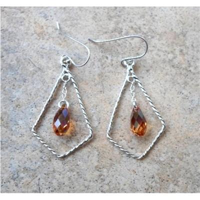 Golden Topaz Swarovsky Crystal dangling earrings