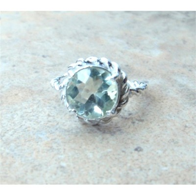 Sterling Silver Rope Ring with Green Amethyst