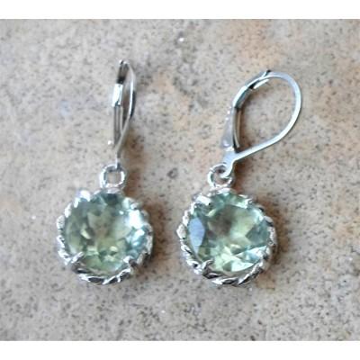 Amethsyt 10mm round rope earrings