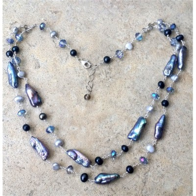 Biwa pearl, Keshi pearl, freshwater pearl double row necklace.