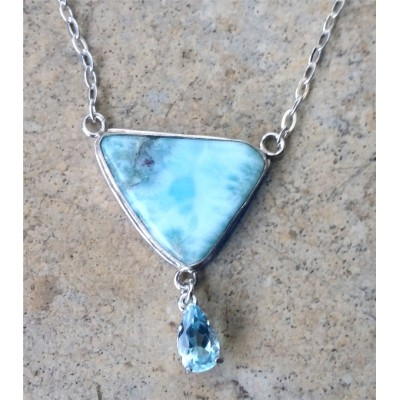 Larimar and Blue Topaz Drop Necklace