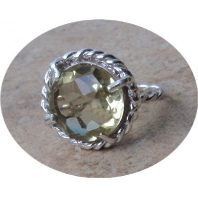 Lemon Topaz Ring with Rope design