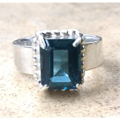 London Blue Topaz Beaded Bezel Ring -December Birthstone-Anniversary stone-Sterling Silver or Gold 10 x 8 approx 4 carats