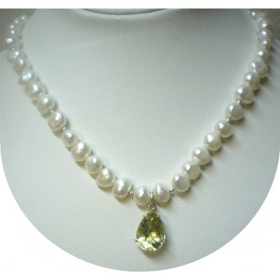 Lemon Topaz and White Freshwater Pearl Necklace