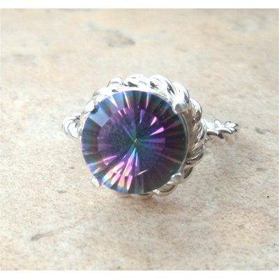 Sterling Silver Rope ring with Mystic Topaz