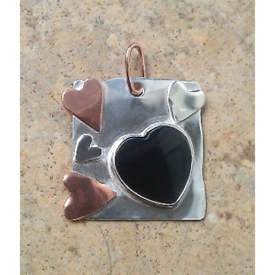 Onyx Heart Necklace in Sterling Silver and Copper