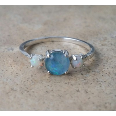 Opal ring - genuine Opal 3 stone ring - (October Birthstone)- in Sterling Silver or Gold