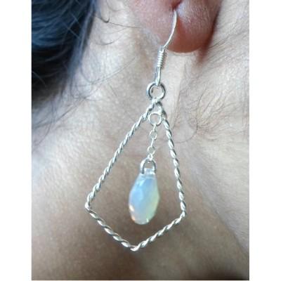 Opal Swarovsky crystal rope hoop earrings