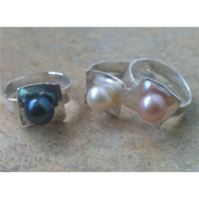 10mm Freshwater Pearl Ring in Sterling Silver