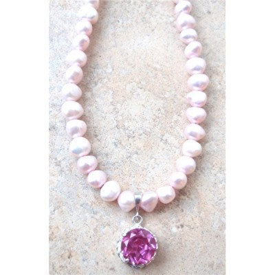 Pink Quartz rope necklace with pink pearls