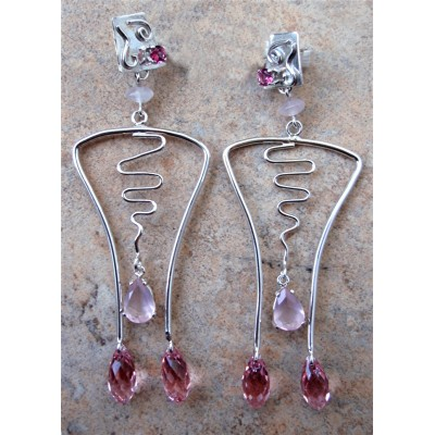Pink Topaz, Rose Quartz and Swarovsky crystal earrings