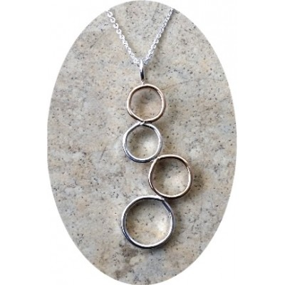 14K Gold filled and Silver circles necklace