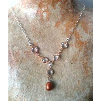 Swarovsky Crystals and Rust Pearl Necklace