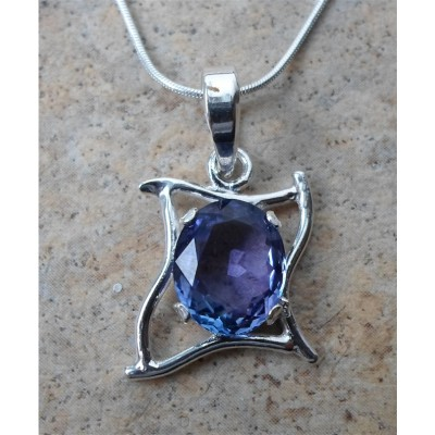Tanzanite oval in sterling Silver curves setting