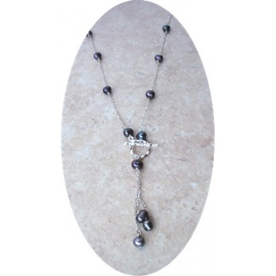Pearl Toggle Necklace (Black)